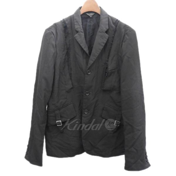 【中古】BLACK COMME des GARCONS 2017SS ポリ縮テーラードジャケット ブラック サイズ:M 【送料無料】 【151218】(ブラックコムデギャルソン)