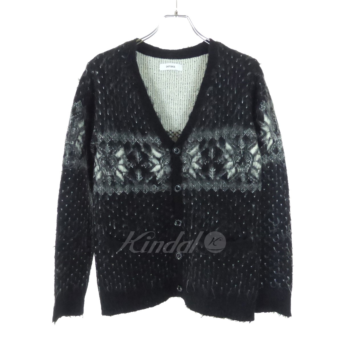 657814bb76c DETAILS Nordic events pattern knit cardigan black X white size  M (D tales)
