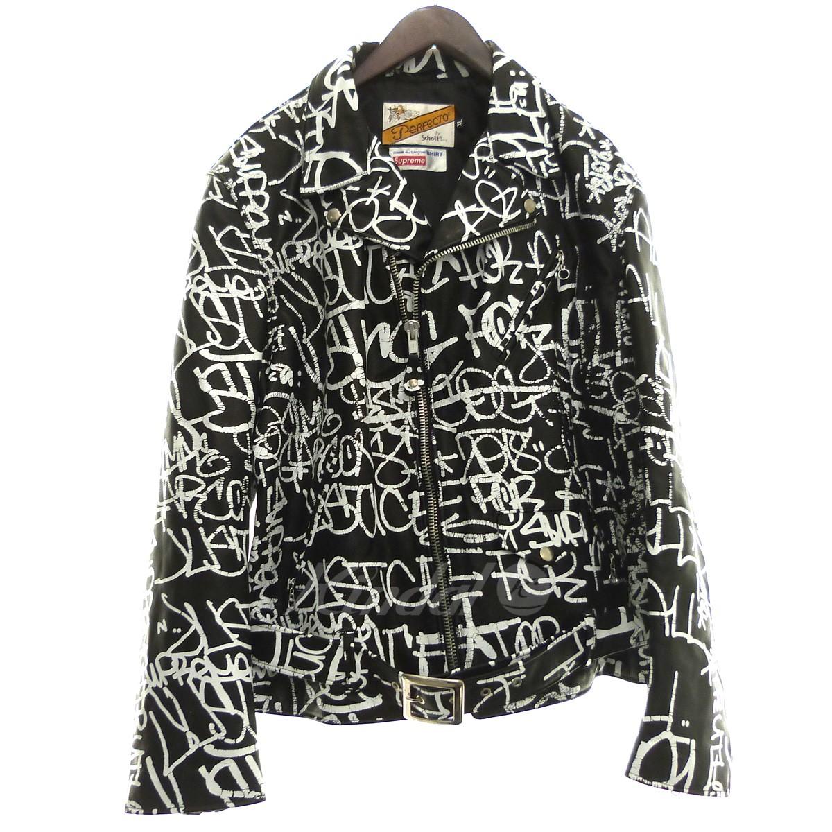 【中古】Supreme×COMME des GARCONS SHIRT×Schott 18AW「Painted Perfecto Leather Jacket」ペイントダブルライダース ブラック サイズ:XL 【120320】(シュプリーム コムデギャルソンシャツ ショット)