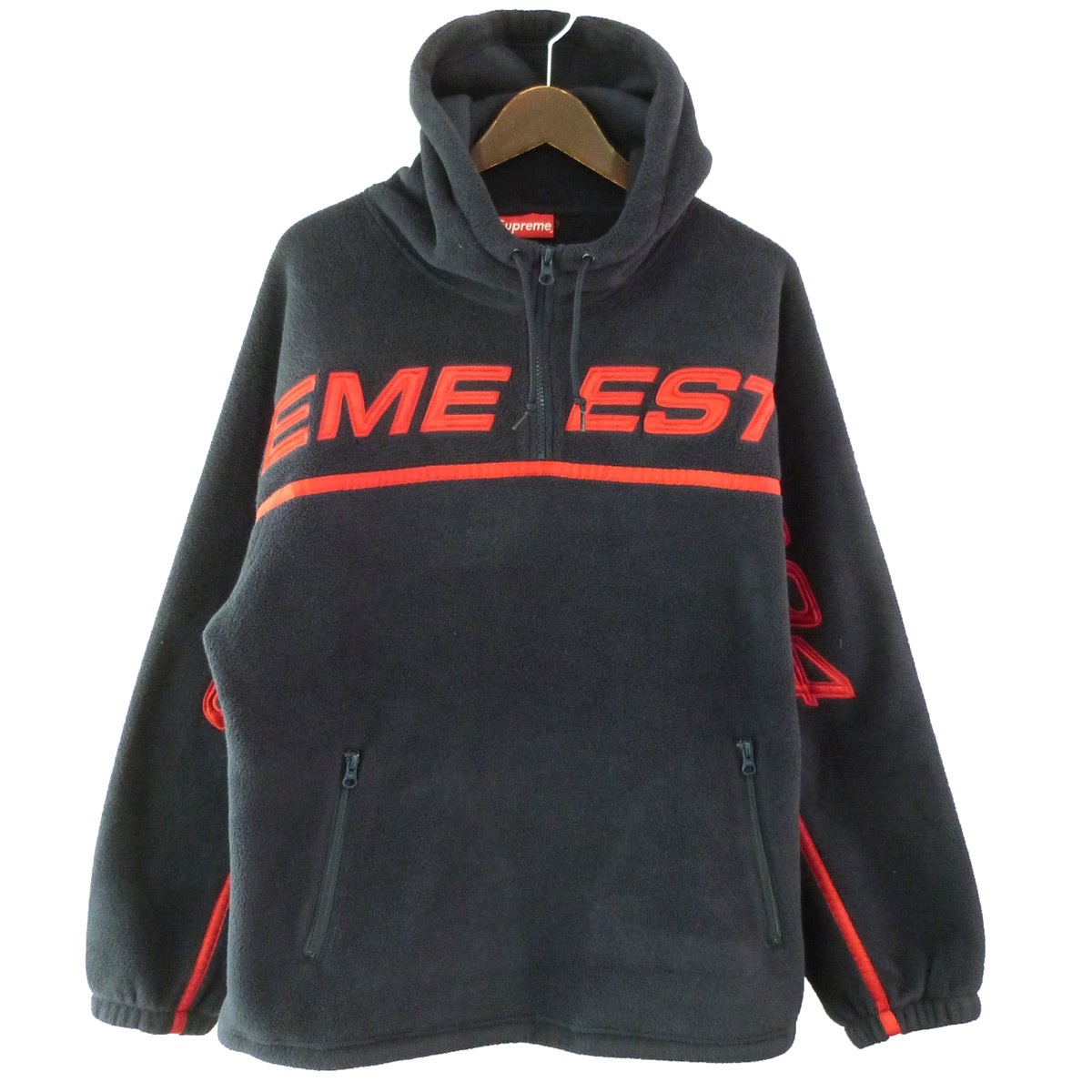 【中古】SUPREME 19AW「Polartec HalfZip Hooded Sweatshirt」ハーフZIPパーカー ネイビー サイズ:M 【120320】(シュプリーム)