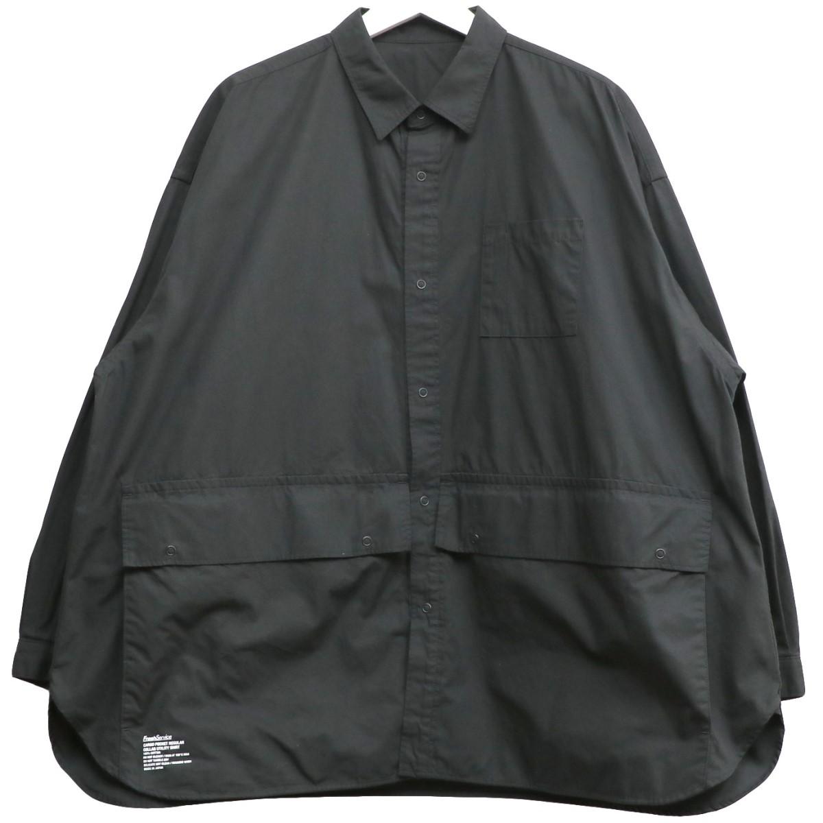【中古】Fresh Service 20SS Pocket Utility Shirtスナップボタンオーバーサイズシャツジャケット ブラック サイズ:Free 【260820】(フレッシュサービス)