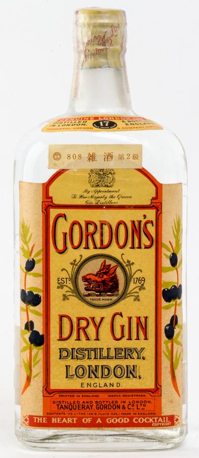≪ティンキャップ洋酒≫ GORDON`S DRY GIN ゴードン ドライ ジン 750ml≪オールドボトル≫≪古酒≫ #550 alc