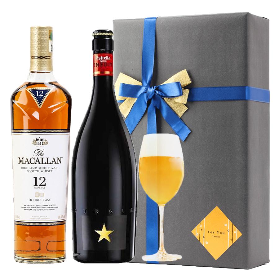 おしゃれ ラッピング 無料 お酒ギフトイネディット マッカラン 12年 ダブルカスク 2本セット 高級 ビール 金賞 ウイスキー 飲み比べ プレゼント バースデー 贈答品 開店祝い #gift42 alc
