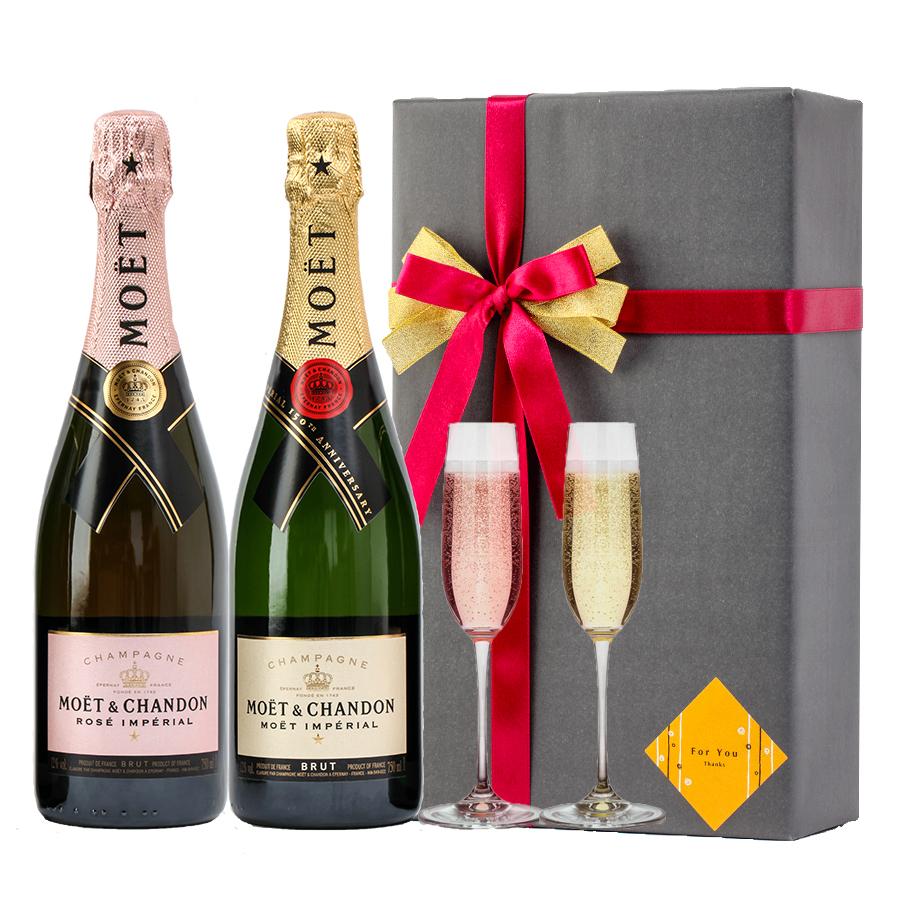 おしゃれ プレゼント ギフト ラッピング 無料 お酒 ギフトモエ・エ・シャンドン ブリュット&ロゼ モエシャン 飲み比べシャンパン赤白セット ホワイトデー バースデー 贈答品 開店祝い #gift6R alc