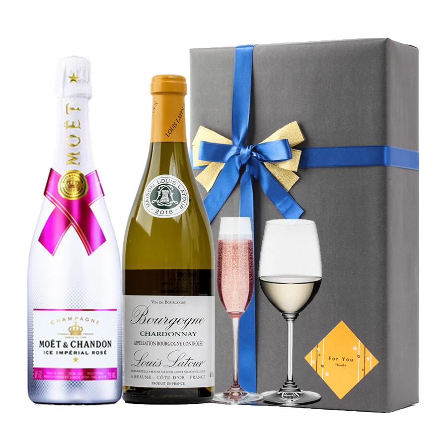 おしゃれ プレゼント ギフト ラッピング 無料 お酒 ギフトルイ ラトゥール ブルゴーニュ シャルドネ 2018&アイス ロゼ モエシャン 飲み比べボルドー シャンパン 白ワイン ホワイトデー バースデー 御中元 贈答品 開店祝い #gift70B alc
