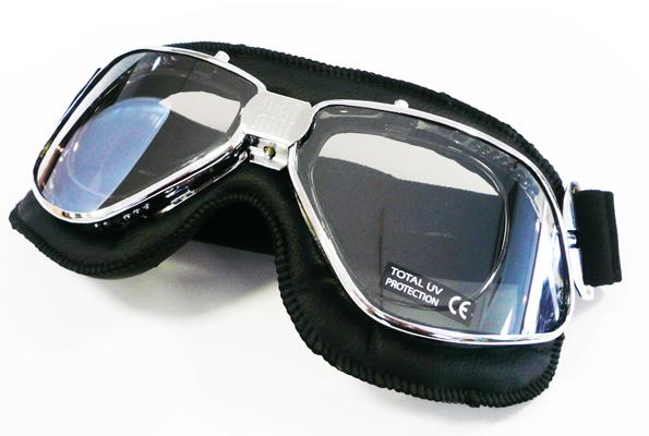 度付き対応バイクゴーグル!NANNINI(ナンニーニ)BIKER 4V(バイカー)クローム・ブラック/グレイシルバーミラーレンズ【smtb-TD】