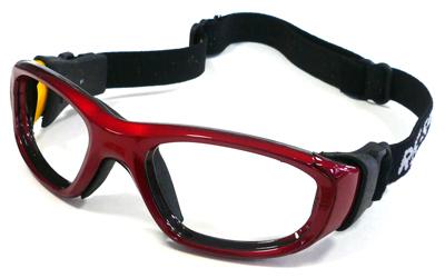 お子様用スポーツグラス RECSPECS(レックスペックス)MX-21 クリムゾン/ブラック48mmスモールサイズ/サッカー・バスケットボール・バレーボール対応度付きゴーグルタイプ眼鏡フレーム【smtb-TD】