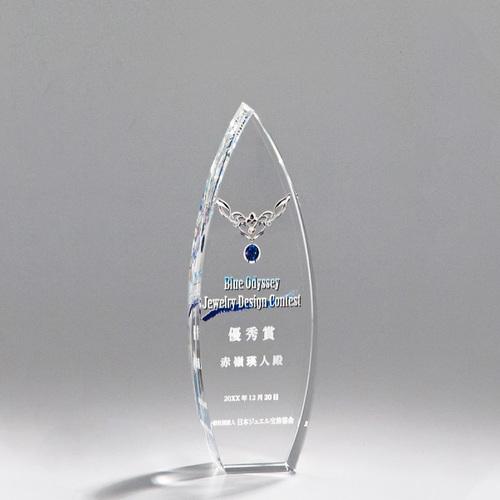 光学ガラス製トロフィー A03-04B ★高さ180mm