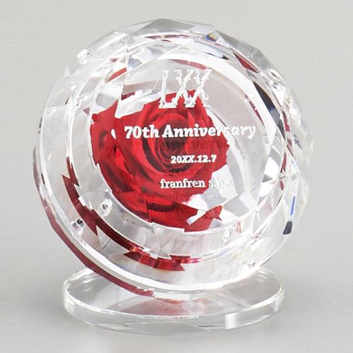 光学ガラス製フラワーオーナメント D70-01 ★高さ75mm