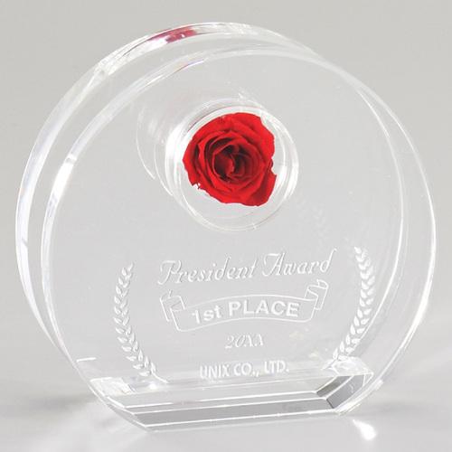 光学ガラス製フラワーオーナメント D70-03 ★高さ100mm