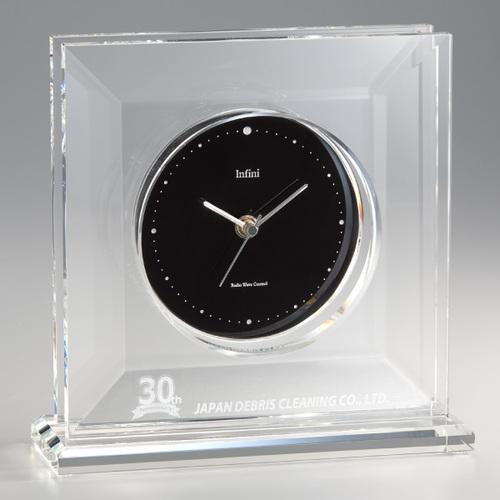 光学ガラス製電波置時計 D75-01 ★高さ245mm