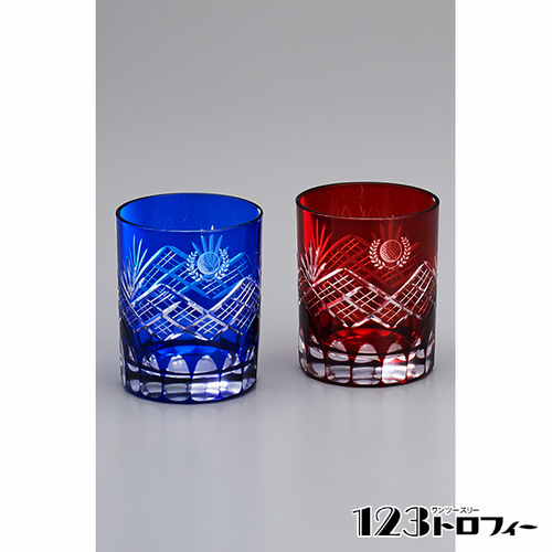 【版代別途必要】江戸切子オールド青・赤セット D80-03 ★260ml