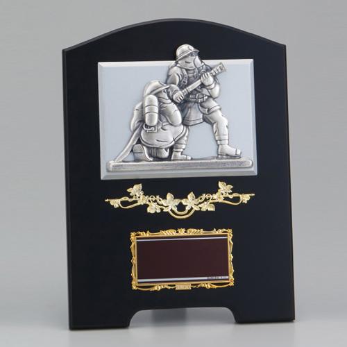 消防士レリーフ付木製楯 SB-10 ★高さ300mm《#B12》 消防・消防団表彰 退官記念品 退団記念品
