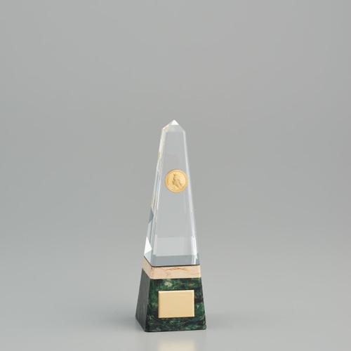 ★ クリスタルオーナメント YC-2978C ★高さ200mm 《MG21》プレート彫刻無料 (ゴルフコンペ レプリカ 野球サッカー 体育祭 運動会 文化祭)