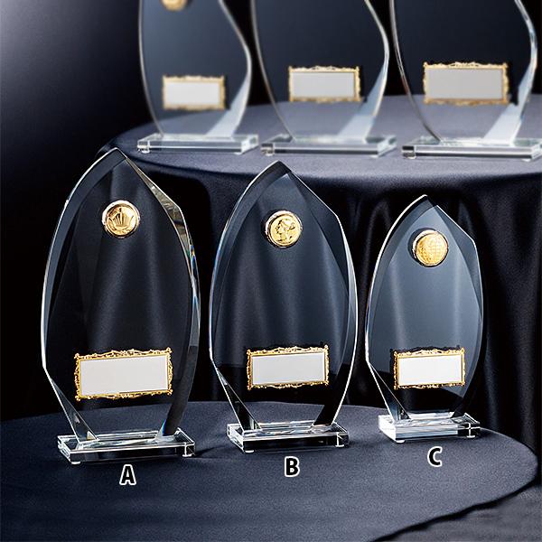 クリスタルオーナメント CMV-345C ★高さ180mm《ASH-1》 プレート色:銀 プレート彫刻無料