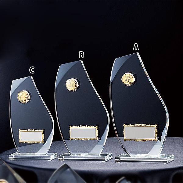 クリスタルオーナメント CMV-346C ★高さ190mm《ASH-1》 プレート色:銀 プレート彫刻無料