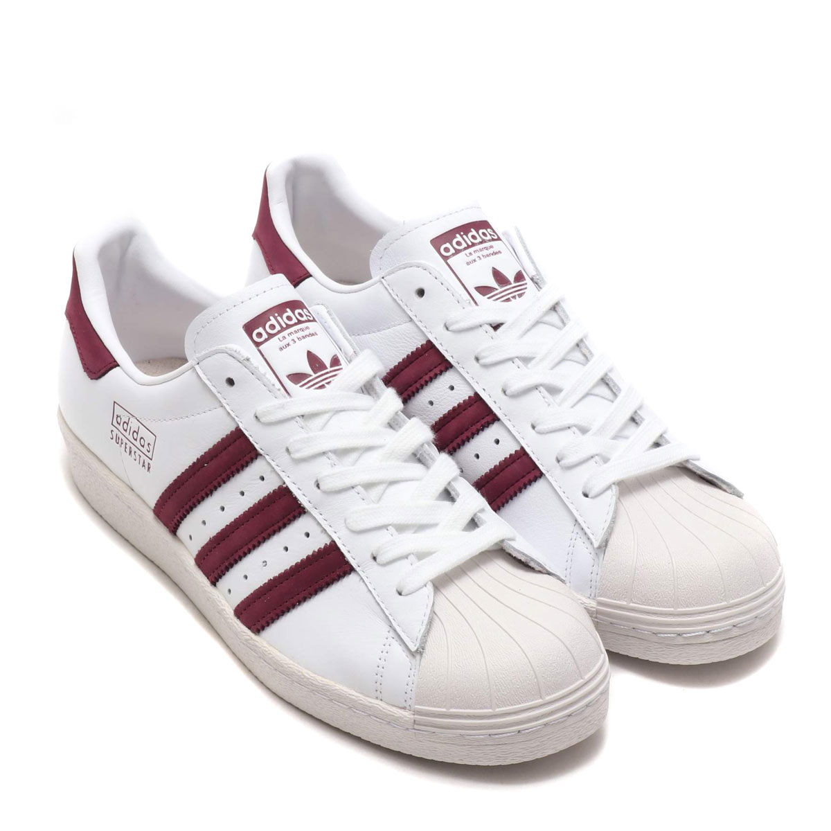 7ddd04bb4e adidas Originals SUPERSTAR 80s (RUNNING WHITE MAROON CRYSTAL WHITE) (Adidas  original soot soft-headed star 80s)