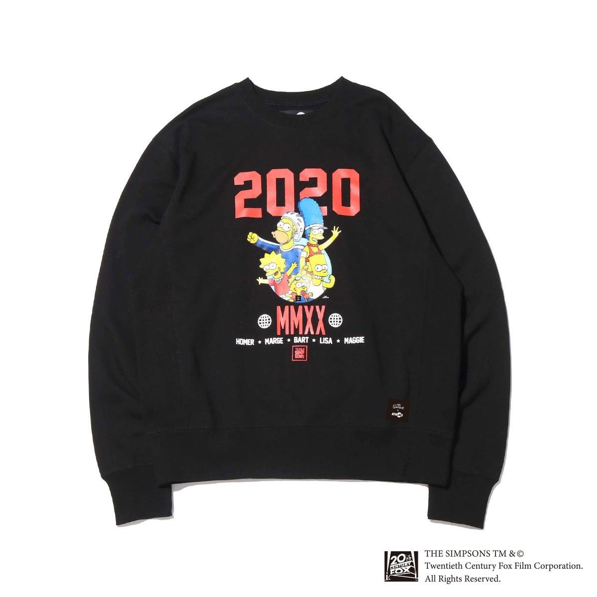 ATMOS LAB x THE SIMPSONS 2020 FAMILY CREW(BLACK)(アトモスラボ ザ シンプソンズ 2020 ファミリー クルー)【メンズ】【スウェット】【20SP-S】