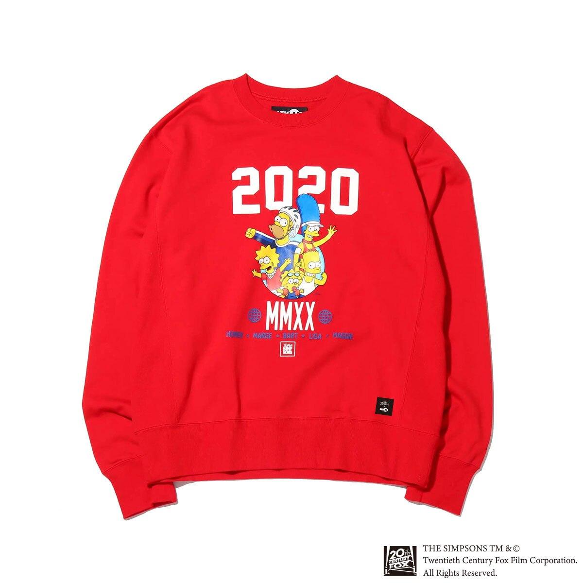 ATMOS LAB x THE SIMPSONS 2020 FAMILY CREW(RED)(アトモスラボ ザ シンプソンズ 2020 ファミリー クルー)【メンズ】【スウェット】【20SP-S】