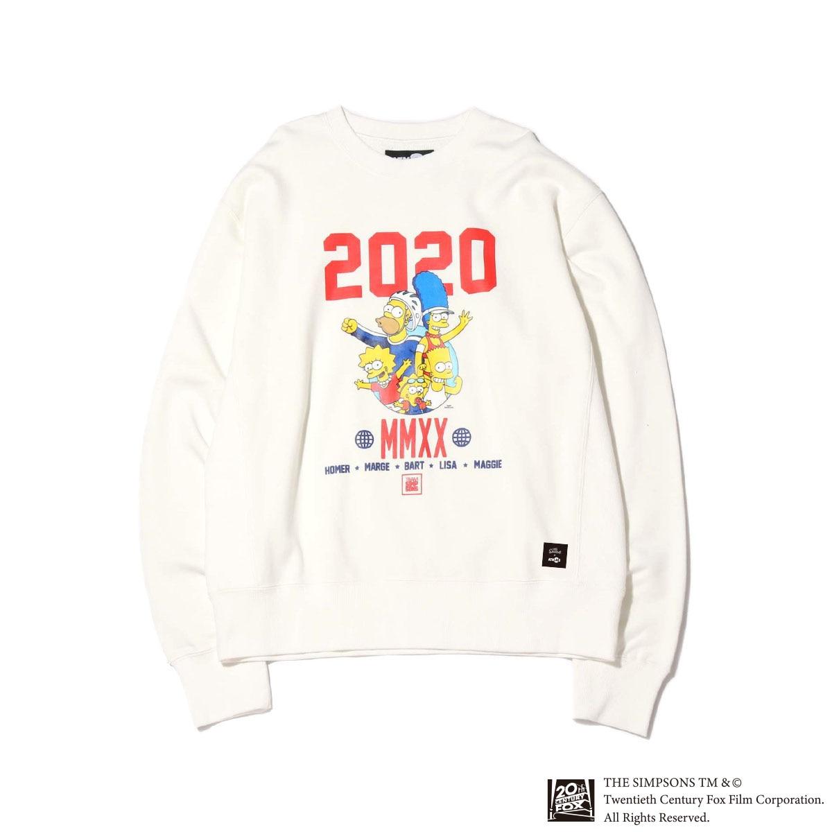 ATMOS LAB x THE SIMPSONS 2020 FAMILY CREW(WHITE)(アトモスラボ ザ シンプソンズ 2020 ファミリー クルー)【メンズ】【スウェット】【20SP-S】