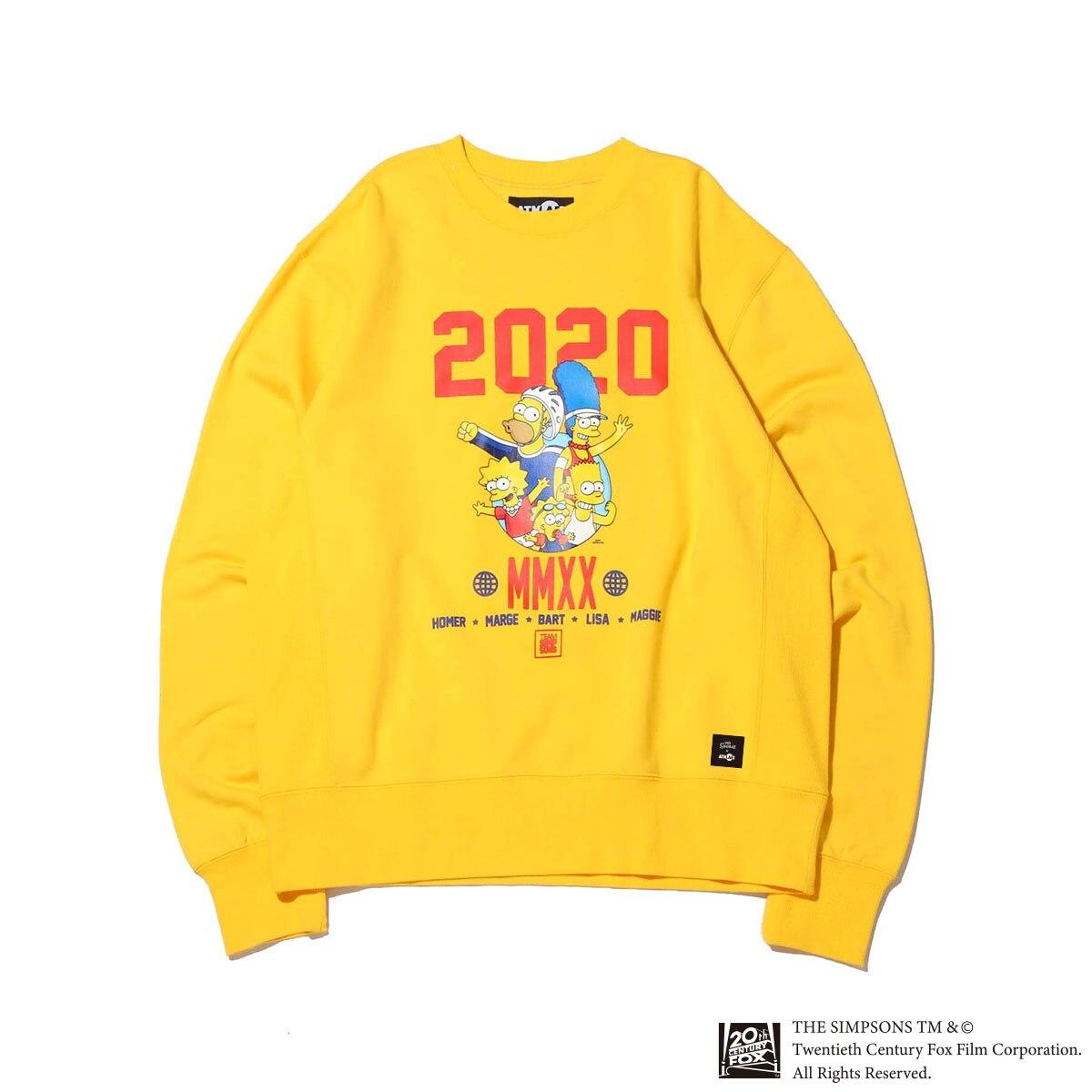 ATMOS LAB x THE SIMPSONS 2020 FAMILY CREW(YELLOW)(アトモスラボ ザ シンプソンズ 2020 ファミリー クルー)【メンズ】【スウェット】【20SP-S】