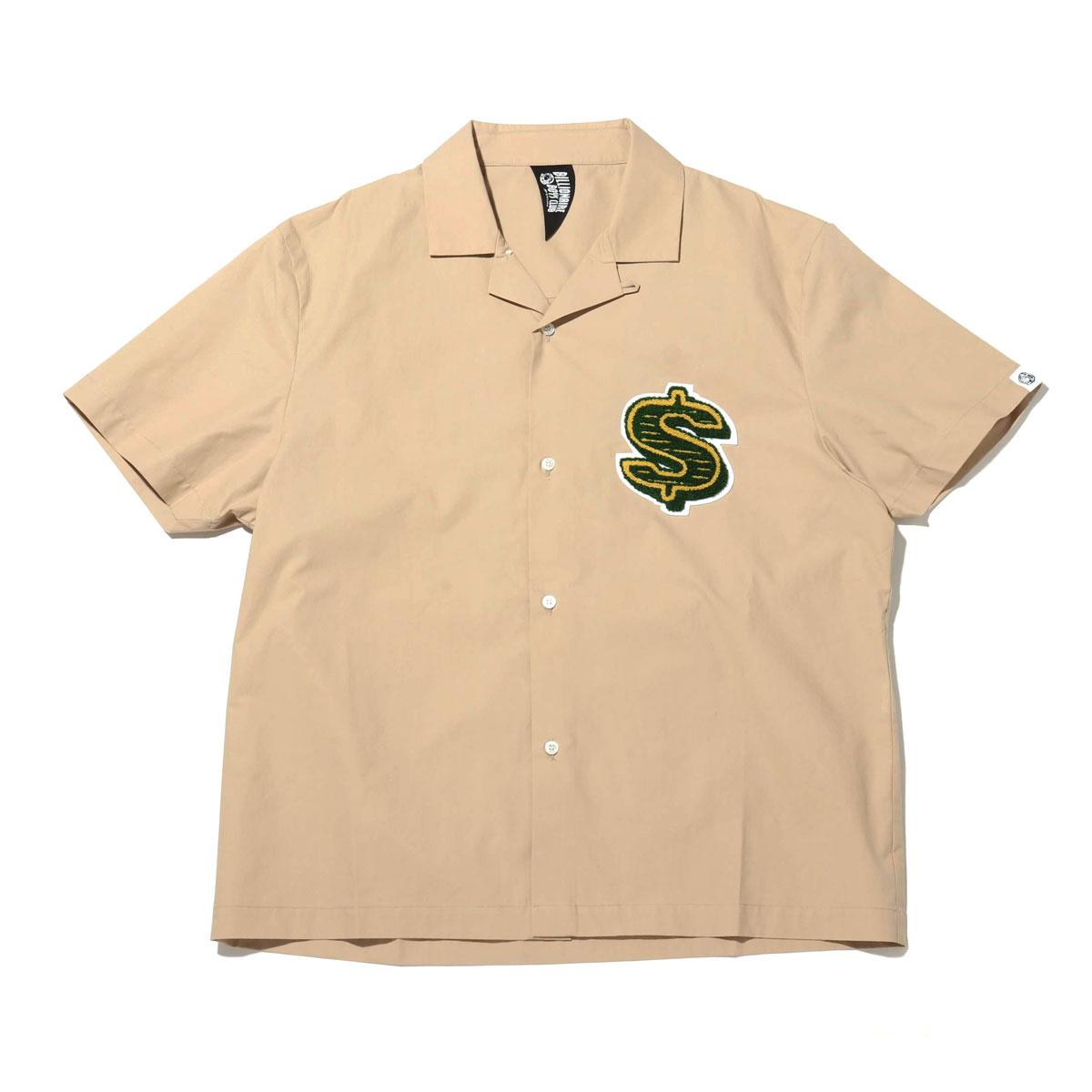 BILLIONAIRE BOYS CLUB CHENILL PATCH DOLLAR S/S OPEN COLLAR SHIRT(BEIGE)(ビリオネア ボーイズ クラブ シェニール パッチ ダラー ショートスリーブ オープンカラーシャツ)【メンズ】【シャツ】【20SP-I】