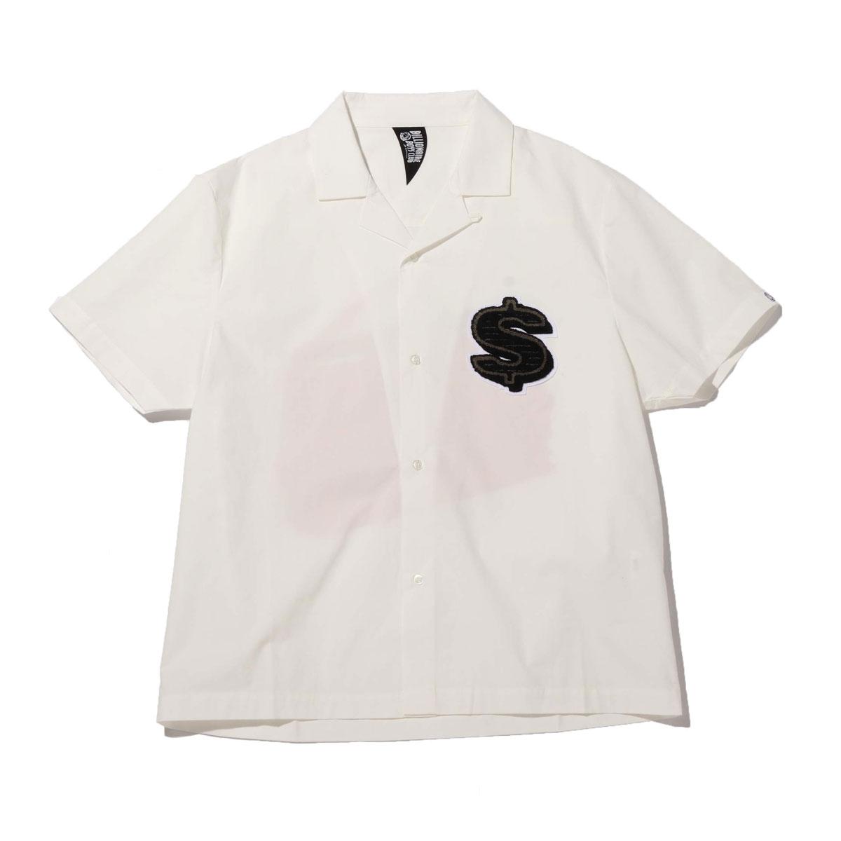 BILLIONAIRE BOYS CLUB CHENILL PATCH DOLLAR S/S OPEN COLLAR SHIRT(WHITE)(ビリオネア ボーイズ クラブ シェニール パッチ ダラー ショートスリーブ オープンカラーシャツ)【メンズ】【シャツ】【20SP-I】