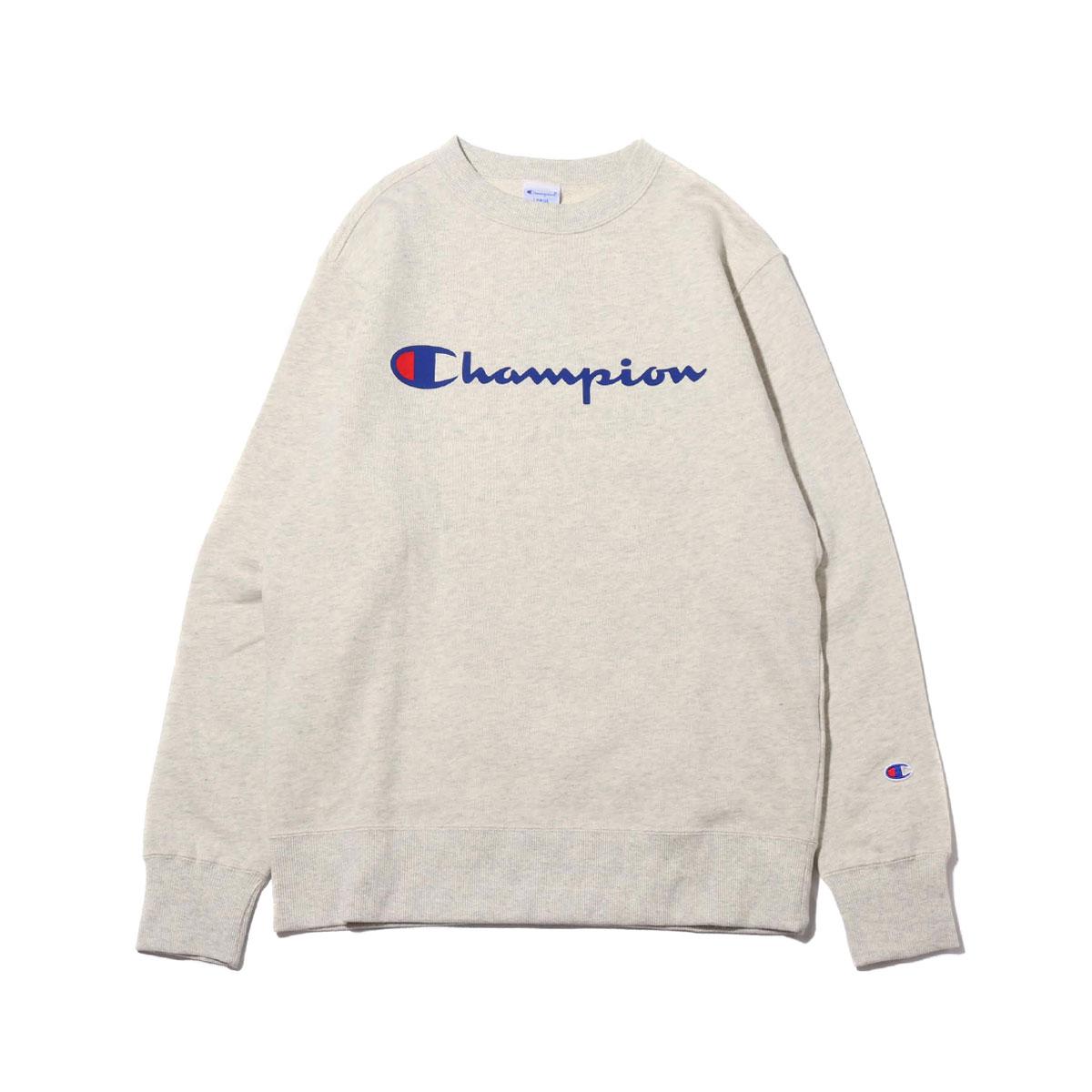 19b28292d Champion CREW NECK SWEATSHIRT (oatmeal) (champion crew neck sweat shirt) ...