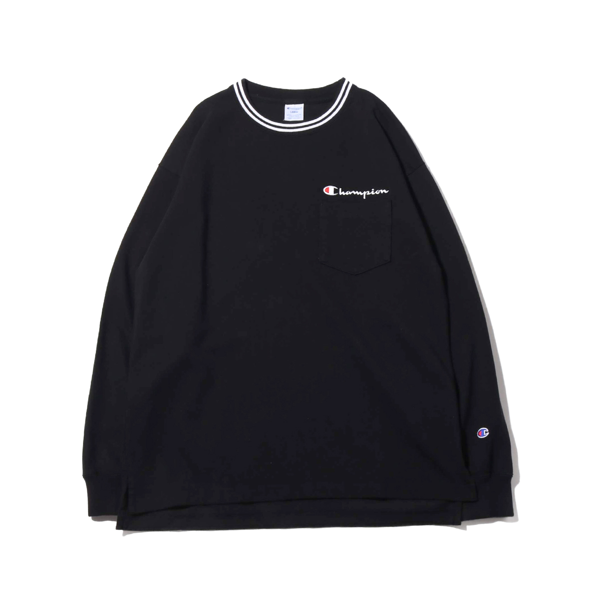 Champion LONG SLEEVE T-SHIRT(ブラック)(チャンピオン ロングスリーブ ティーシャツ)【メンズ】【長袖Tシャツ】【19FW-I】