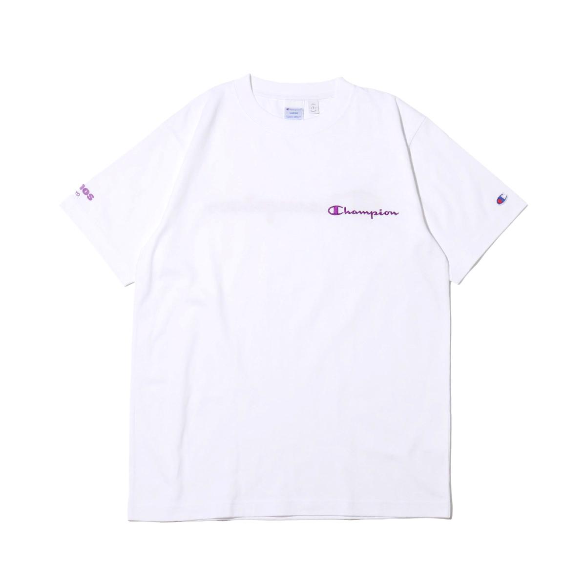 Champion x ATMOS LAB T-SHIRTS(ホワイト)(チャンピオン x アトモスラボ ティーシャツ)【メンズ】【半袖Tシャツ】【19FW-S】