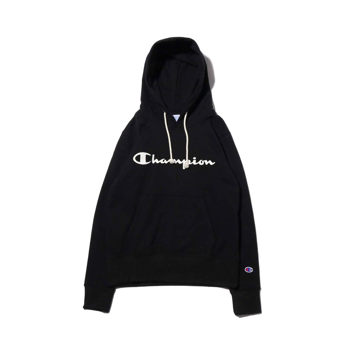 Champion HOODED SWEATSHIRT (チャンピオン フード スウェットシャツ)(BLACK)【レディース】【パーカー】【19SP-I】