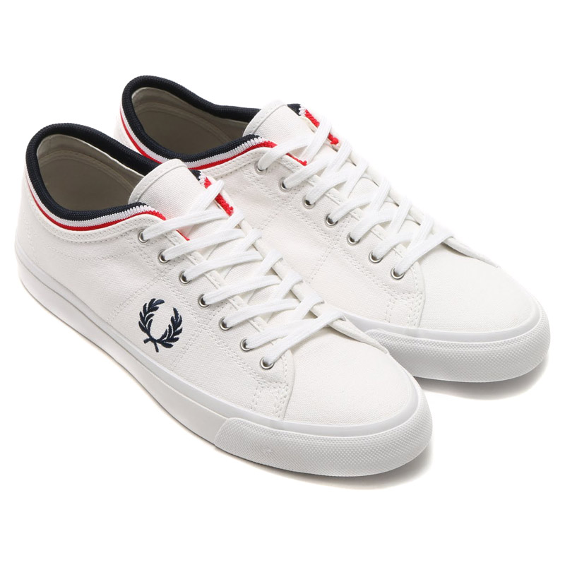 FRED PERRY KENDRICK TIPPED CUFF CANVAS WHITE NAVY BRIGHT REDフレッドペリー ケンドリック チップド カフ キャンバスメンズスニーカー19SP I4AjL53R