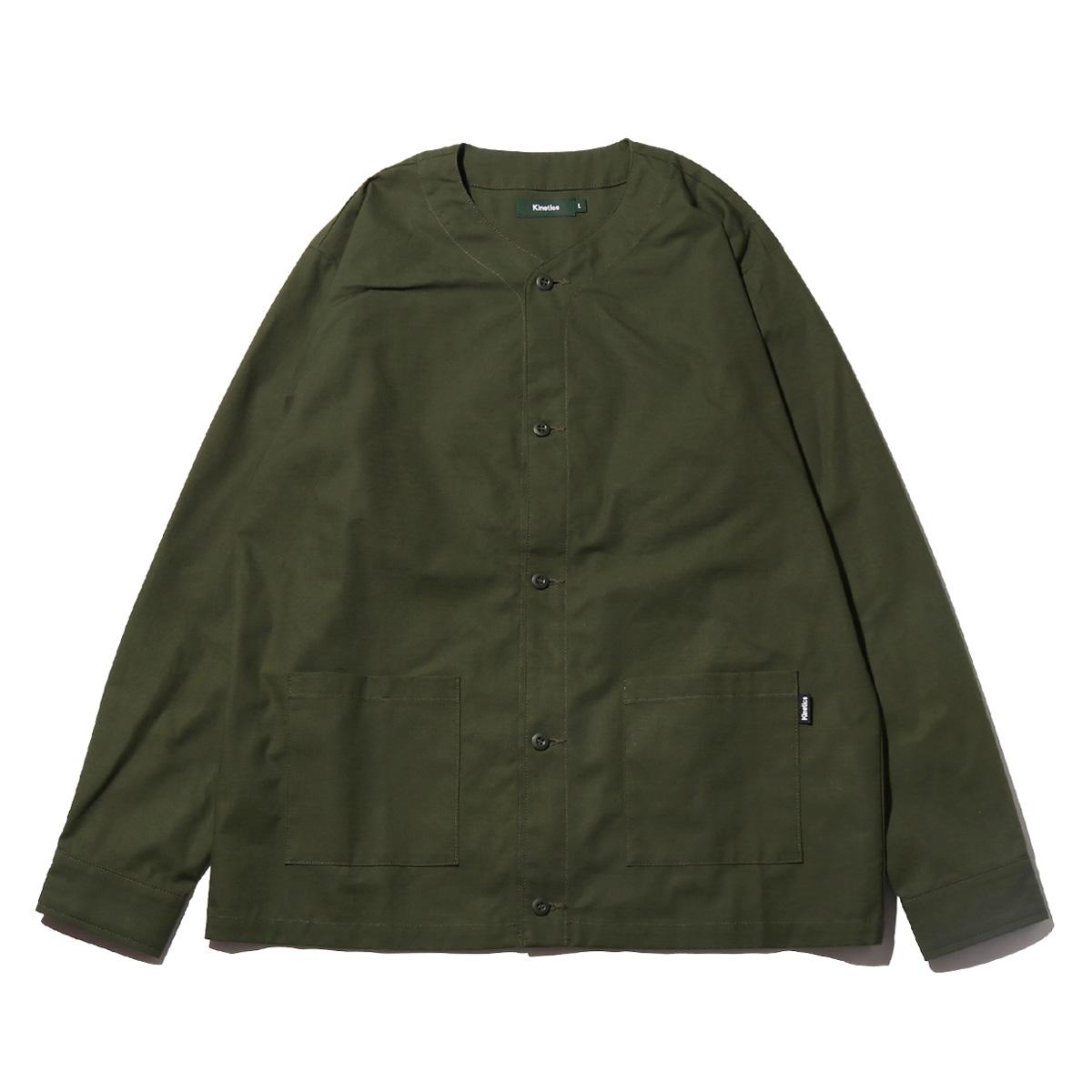 Kinetics Ripstop Cardigan LS Shirt(OLIVE)(キネティクス リップストップ カーディガン LSシャツ)【メンズ】【ノーカラー】【シャツ】【19SS-I】