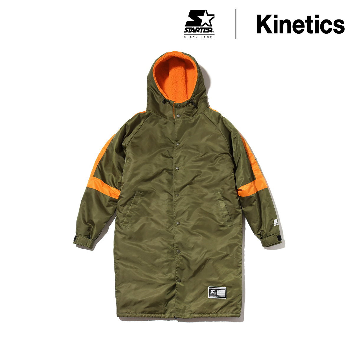 STARTER x Kinetics BENCH COAT(KHAKI/ORANG)(スターター x キネティクス ベンチコート)【メンズ】【コート】【sale0123】【30】【18FW-S】