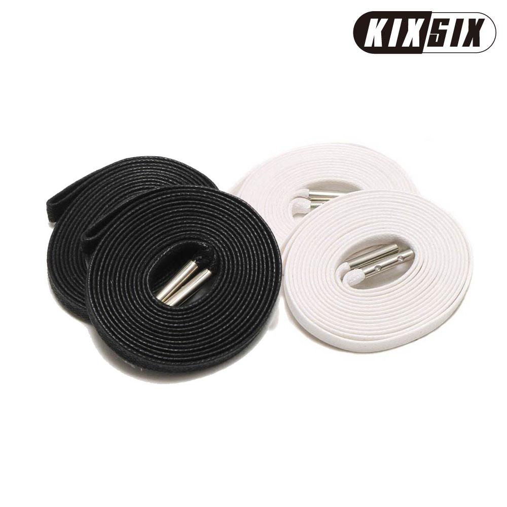 KIXSIX WAXED SHOELACE 2P(BLACK-WHITE/silver)(kikkusushikkusuwakkusudoshuresu 2P)