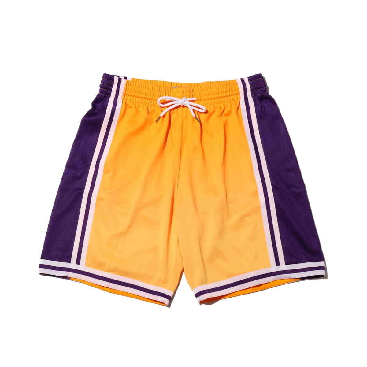 Mitchell & Ness Old English Swingman Shorts LA.Lakers(YELLOW)(ミッチェルアンドネス オールドイングリッシュ ショーツ/ロサンゼルスレイカーズ)【メンズ】【ハーフパンツ】【19HO-I】