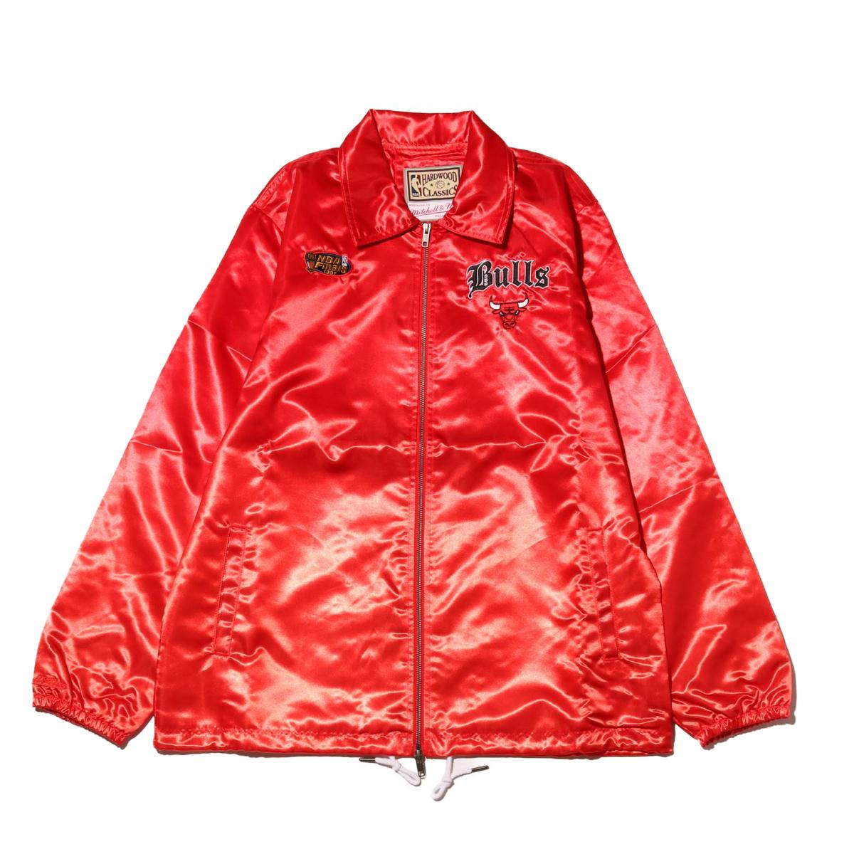 Mitchell & Ness Old English Satin Jacket CHI.Bulls(RED)(ミッチェルアンドネス オールドイングリッシュ ブルゾン/シカゴブルズ)【メンズ】【ジャケット】【19HO-I】