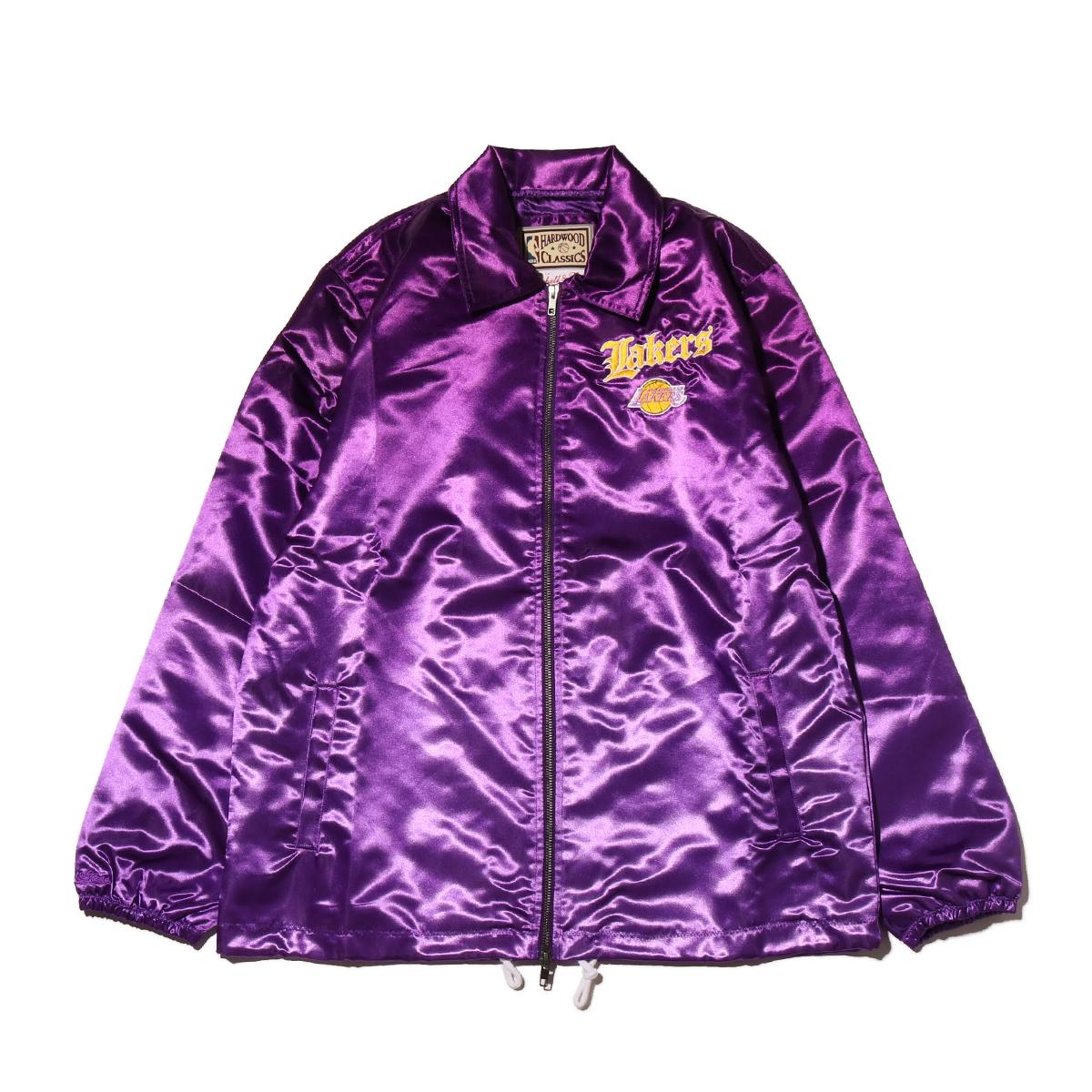 Mitchell & Ness Old English Satin Jacket LA.Lakers(PURPLE)(ミッチェルアンドネス オールドイングリッシュ ブルゾン/ロサンゼルスレイカーズ)【メンズ】【ジャケット】【19HO-I】