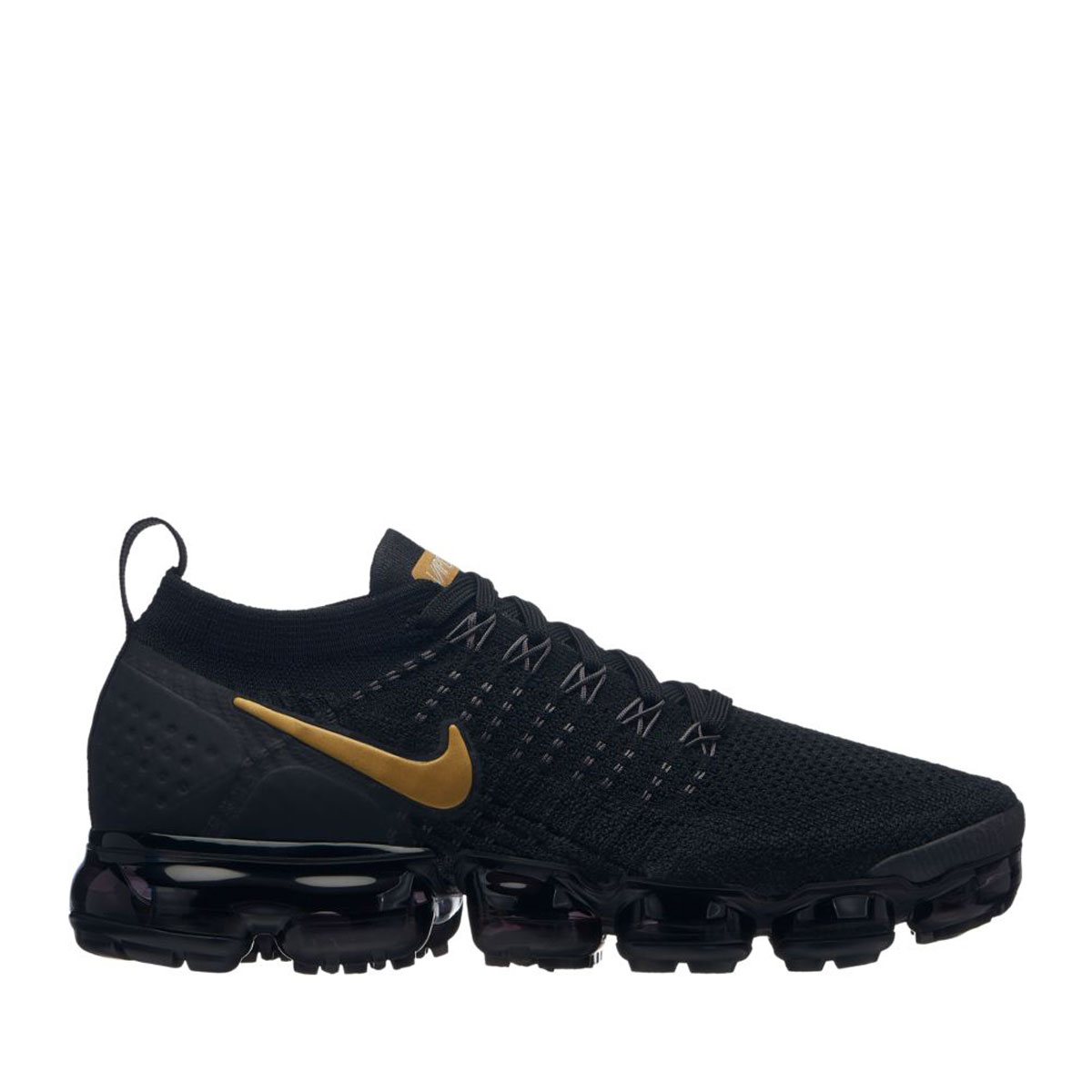 6a040eafb568 NIKE W AIR VAPORMAX FLYKNIT 2 (BLACK METALLIC GOLD-MTLC PLATINUM) (Nike  women air vapor max fried food knit 2)