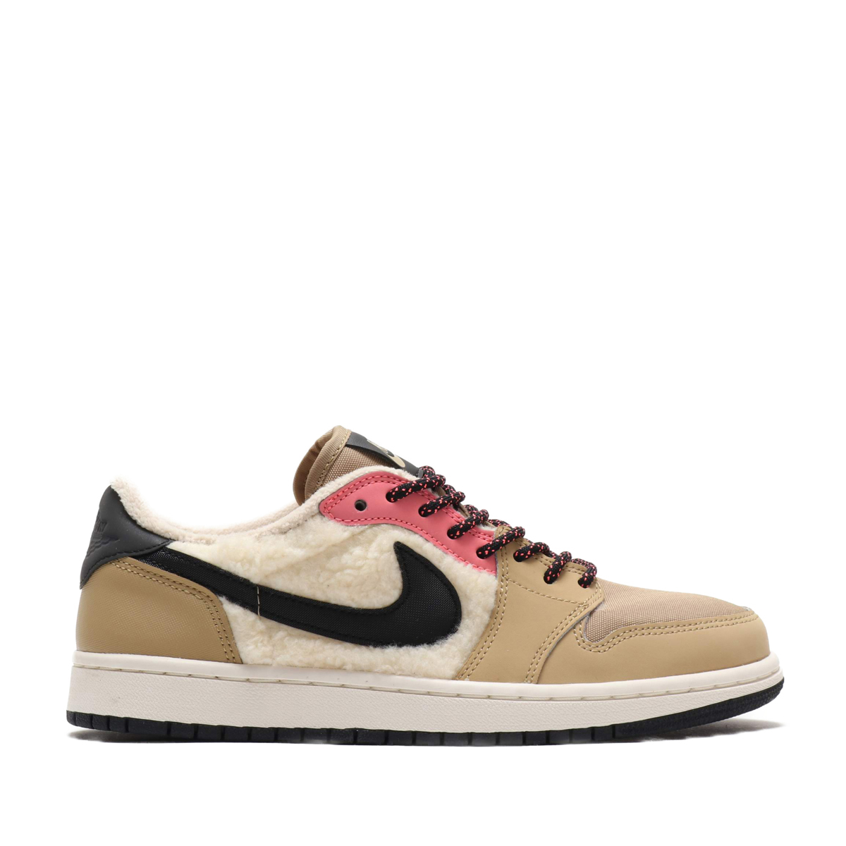 NIKE WMNS AIR JORDAN 1 RETRO LOW OG (PARACHUTE BEIGE BLACK-BEACH-LAVA GLOW)  (Nike women Air Jordan 1 nostalgic low OG) 7950d7b5af