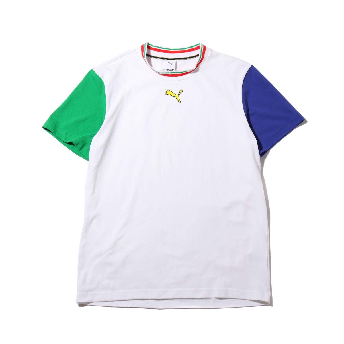 PUMA X CTM COLORBLOCK TEE(PUMA WHITE)(プーマ X CTM カラーブロック ティーシャツ)【メンズ】【半袖Tシャツ】【19FA-S】