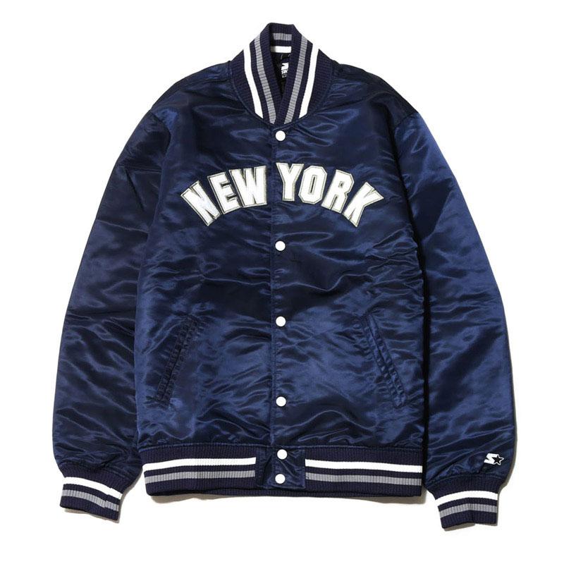 STARTER HERMAN NYLON STADIUM JACKET NEW YORK(NAVY)(スターター ハーマン ナイロン スタジアム ジャケット ニューヨーク)【Kinetics】【メンズ】【ストリート】【ジャケット】【16AW-I】