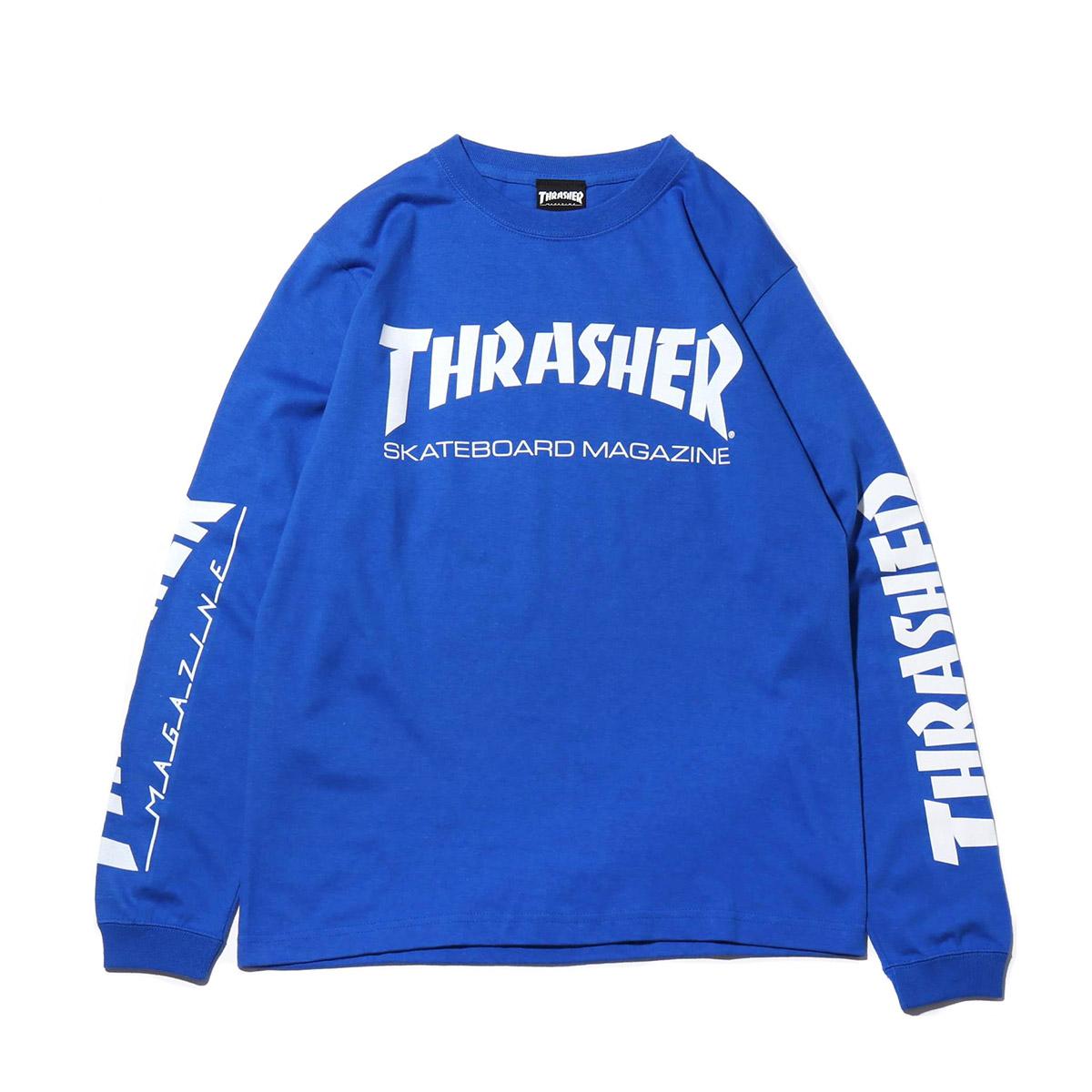 THRASHER MAG SLEEVE L/S TEE(ROYAL/WHITE)(スラッシャー マグスリーブ ロングスリーブ)【メンズ】【長袖Tシャツ】【19SS-I】