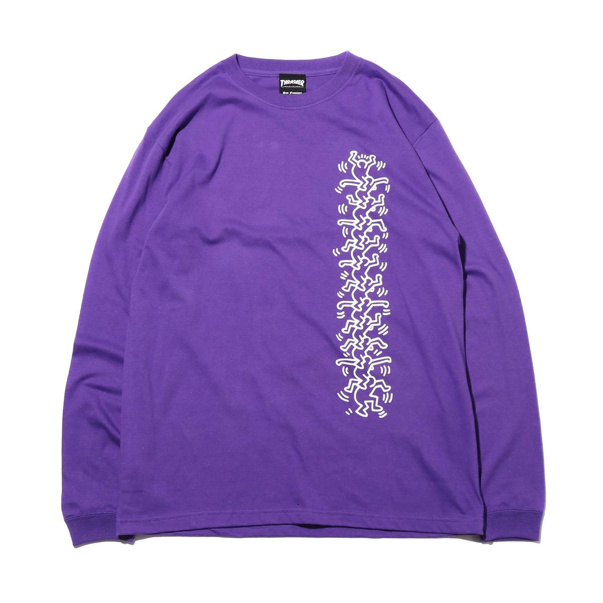 THRASHER x Keith Haring L/S TEE(PURPLE)(スラッシャー キースへリング ロングスリーブ ティーシャツ)【メンズ】【長袖Tシャツ】【18FW-I】