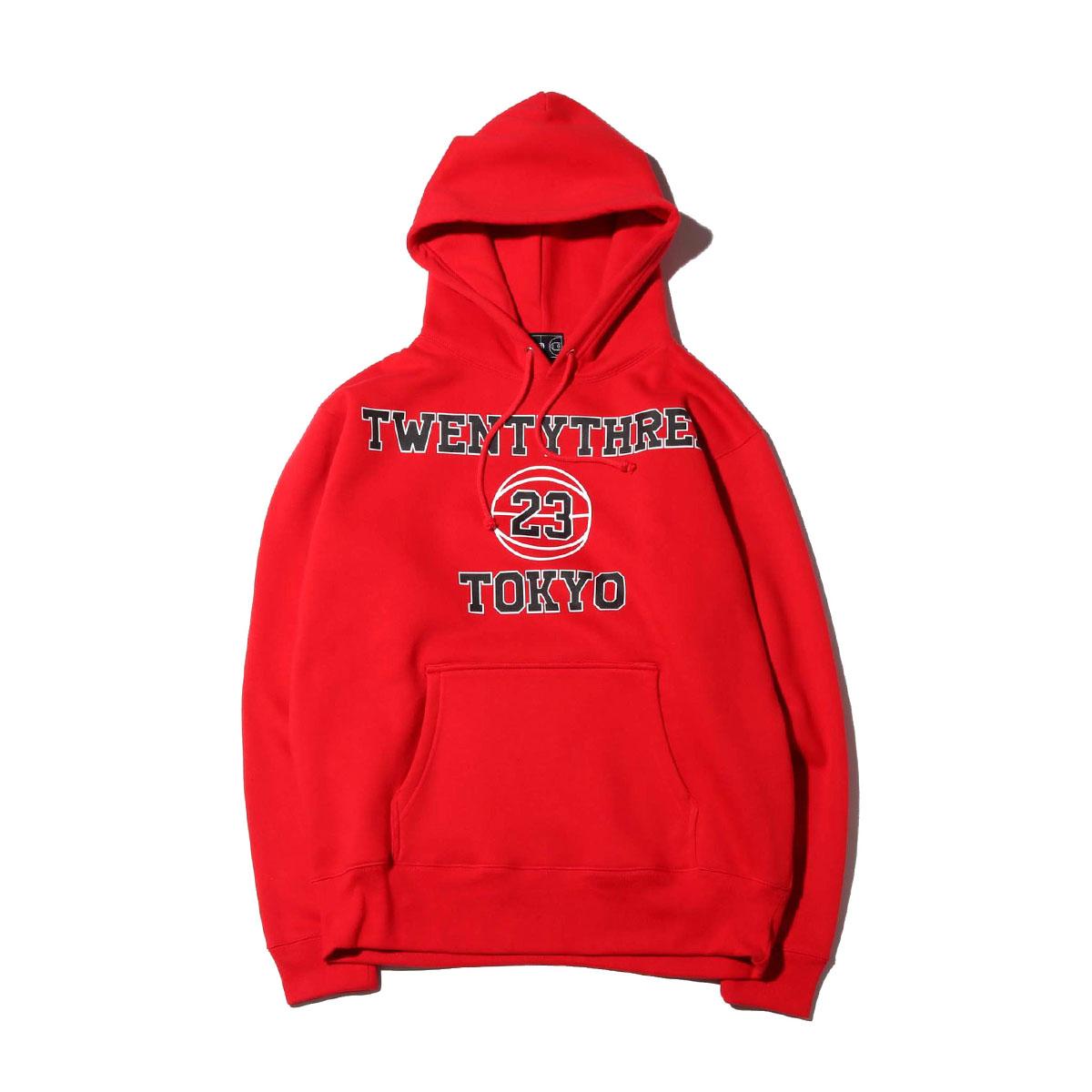 TOKYO 23 COLLEGE HOODIE(RED)(トウキョウ23 カレッジ フーディー)【メンズ】【パーカー】【19HO-I】