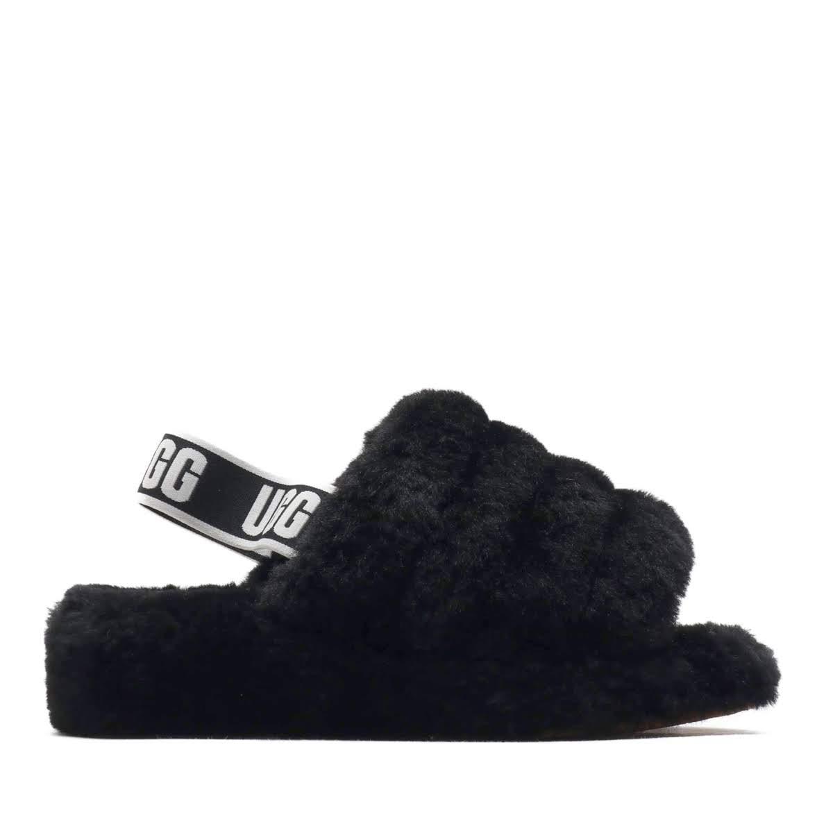 UGG W FLUFF YEAH SLIDE(BLACK)(アグ フラッフィー イヤー スライド)【メンズ】【レディース】【サンダル】【18FW-I】
