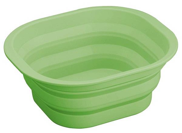 たたんでコンパクトに収納できるシリコン洗い桶です 食器洗いや 野菜 フルーツの水洗いにも便利 クーポン最大600円OFF あす楽 NEW ARRIVAL 送料無料 たためるシリコン洗い桶A-03 グリーン コンパクト キッチン 食器洗い シリコン 新生活 収納 格安SALEスタート たためる シンク 洗い桶