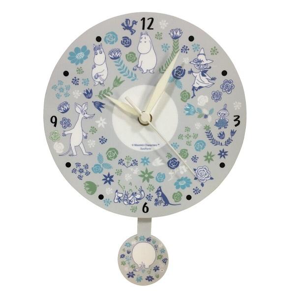 ムーミンの振り子時計がリニューアルしました 新色追加して再販 お花に囲まれたムーミンたちが賑やかでありながら 色合いが落ち着いた印象を与えてくれます クーポン最大600円OFF あす楽 送料無料 ムーミン振り子時計 フラワー MOOMIN 売買 ムーミン 時計 花 フィンランド インテリア 振り子 キャラクター 北欧 壁掛け時計 KC5207 お祝