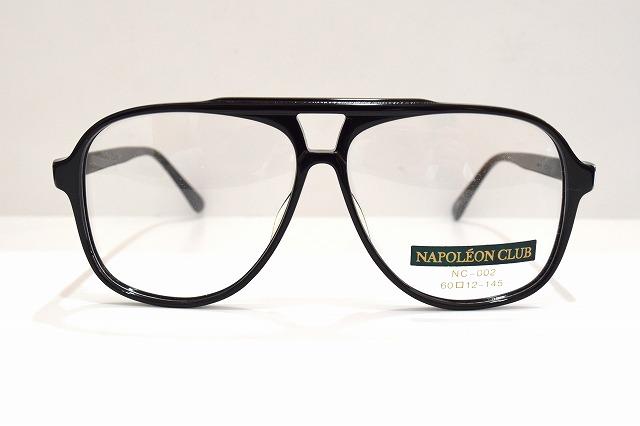 NAPOLEON CLUB NC-002 col.1ヴィンテージメガネフレーム新品めがね眼鏡サングラスティアドロップ黒ぶち紳士用メンズ