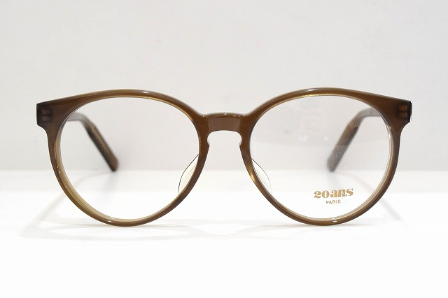 20ans F20-021 col.SPヴィンテージメガネフレーム新品めがね眼鏡サングラスセルロイドボストン型クラシック滑り止めメンズレディース